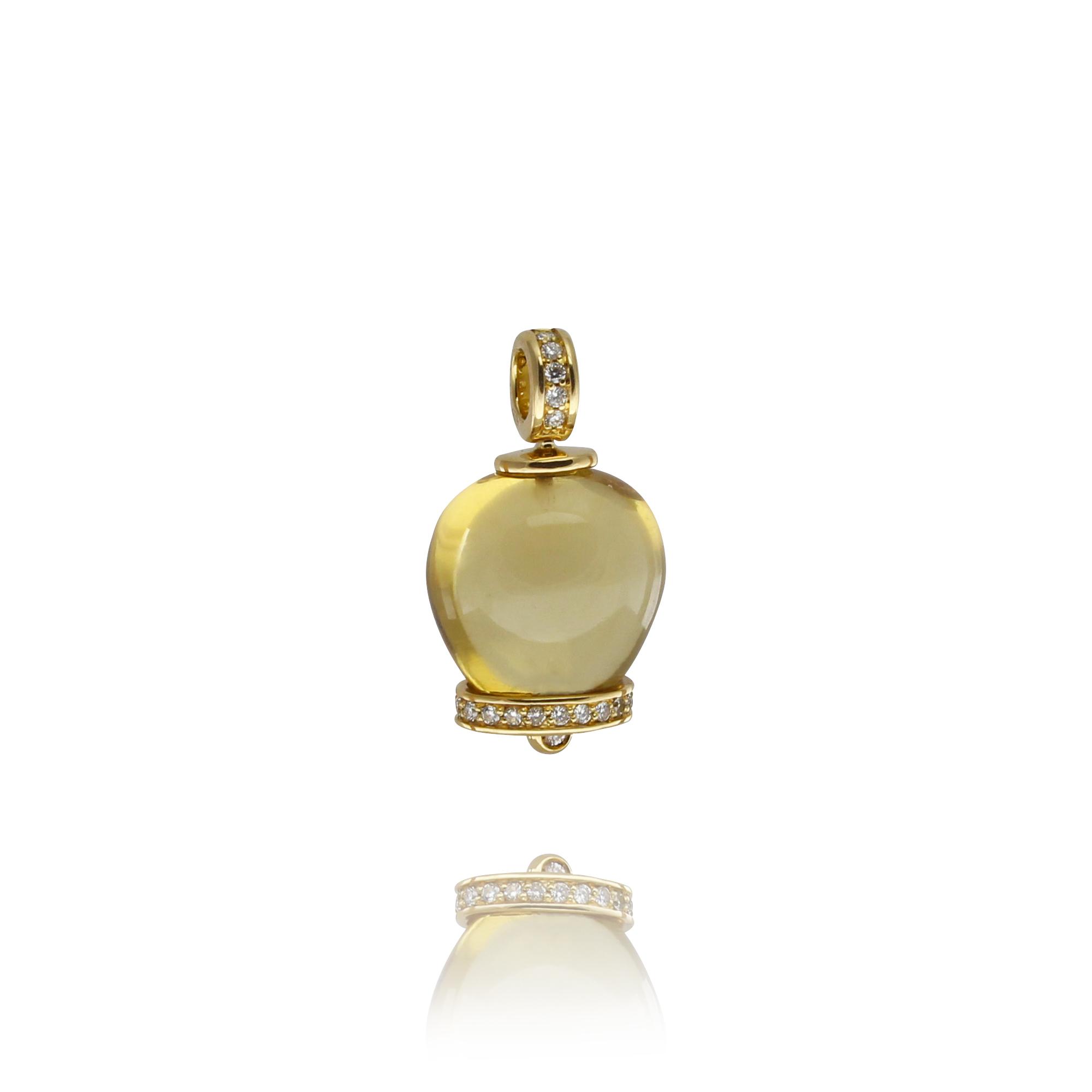 wisiorek campanelle z żółtego złota 18 karatowego cytryn z diamentami