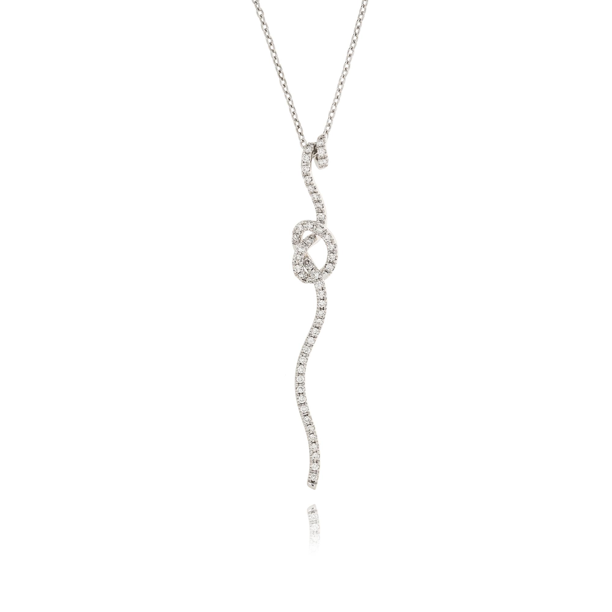 collana nastri nodo in oro bianco 18kt con diamanti
