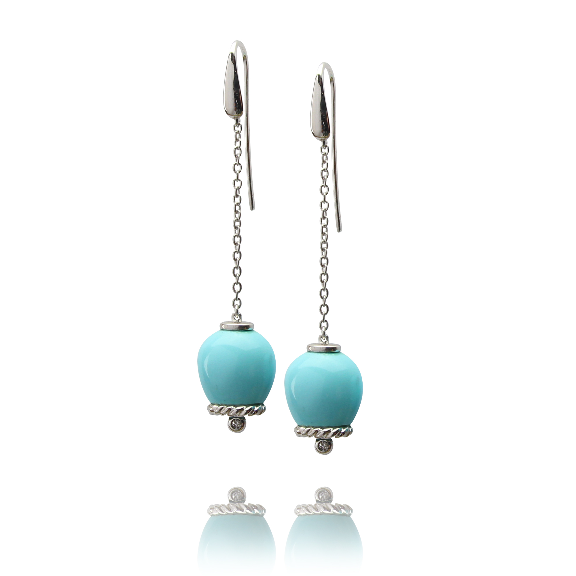 earrings campanelle in white gold 18 carat turquoise reconstructed and diamonds