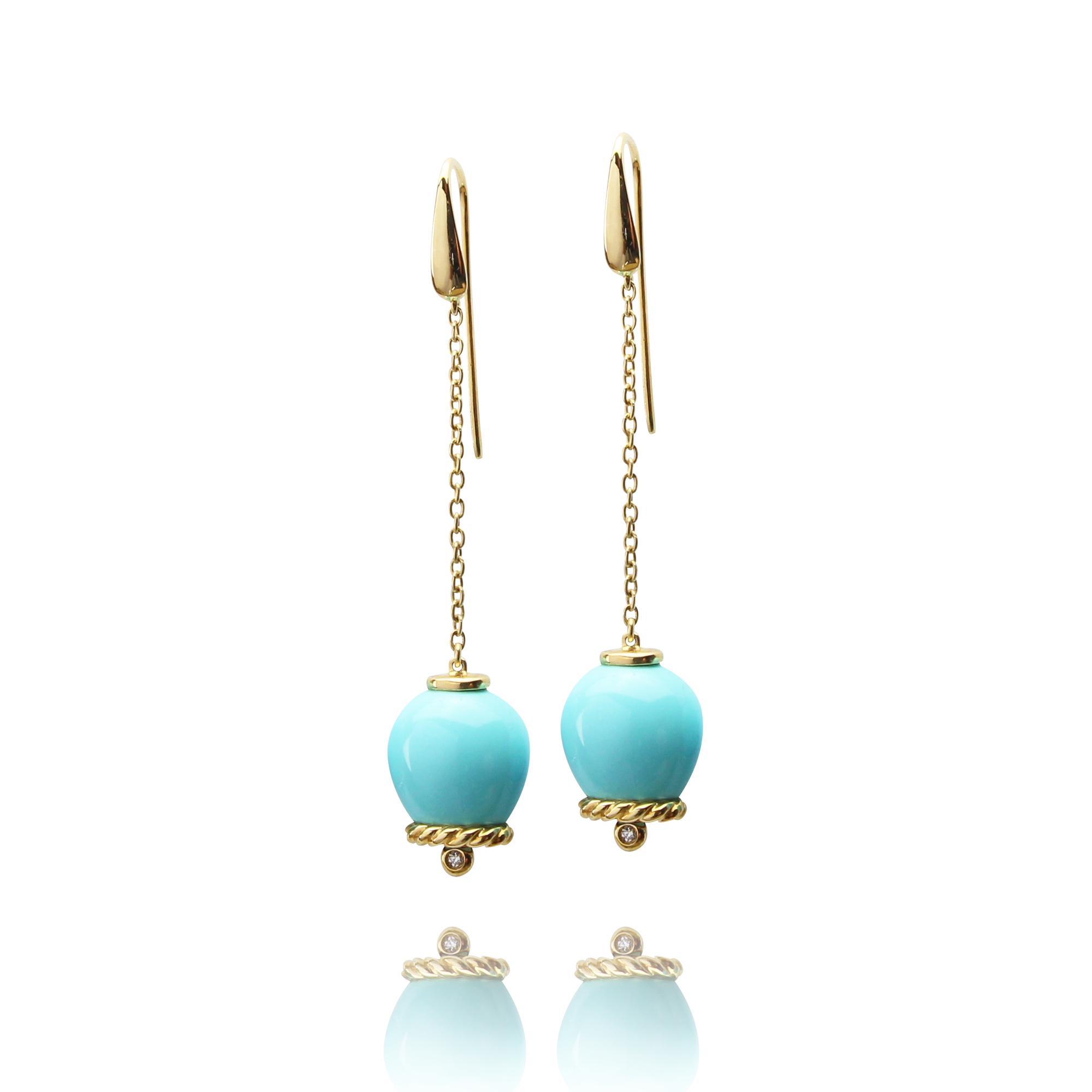 earrings campanelle in yellow gold 18 carat turquoise reconstructed and diamonds