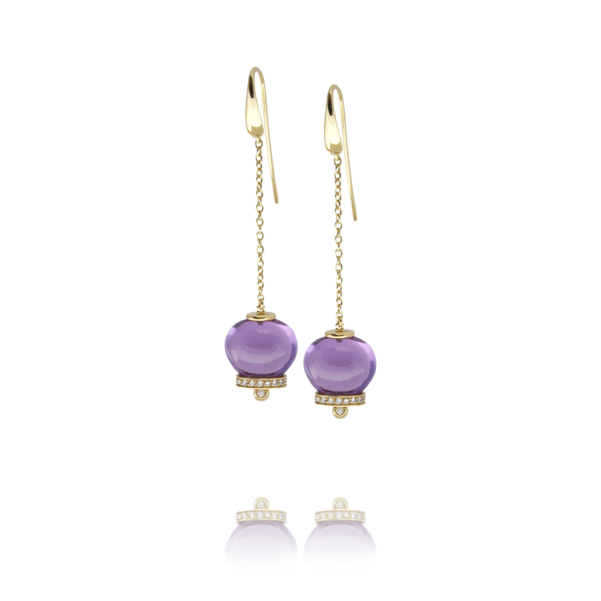 earrings campanelle in yellow gold 18 carat amethysts and diamonds