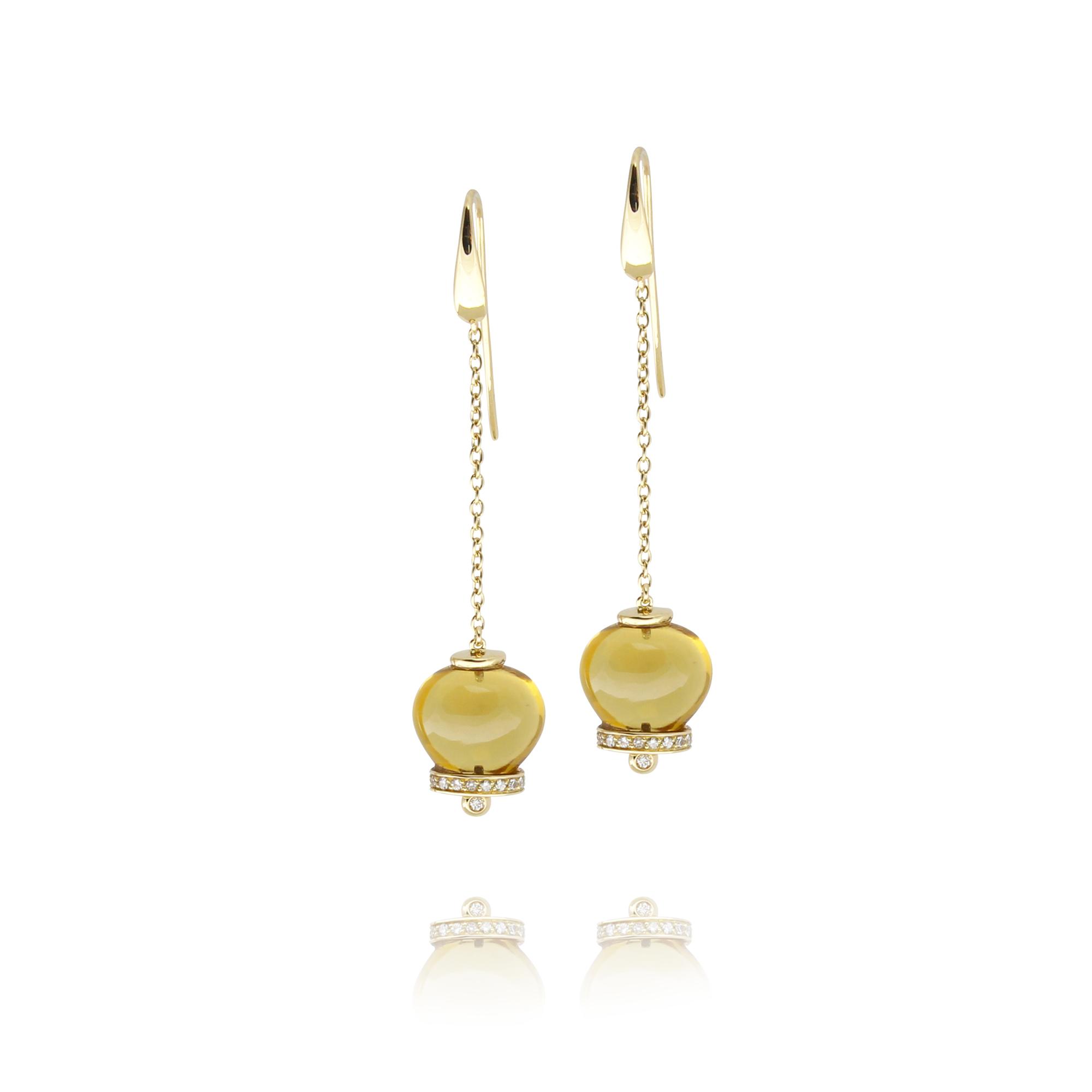 kolczyki campanelle z żółtego złota 18 karatowego cytryn z diamentami