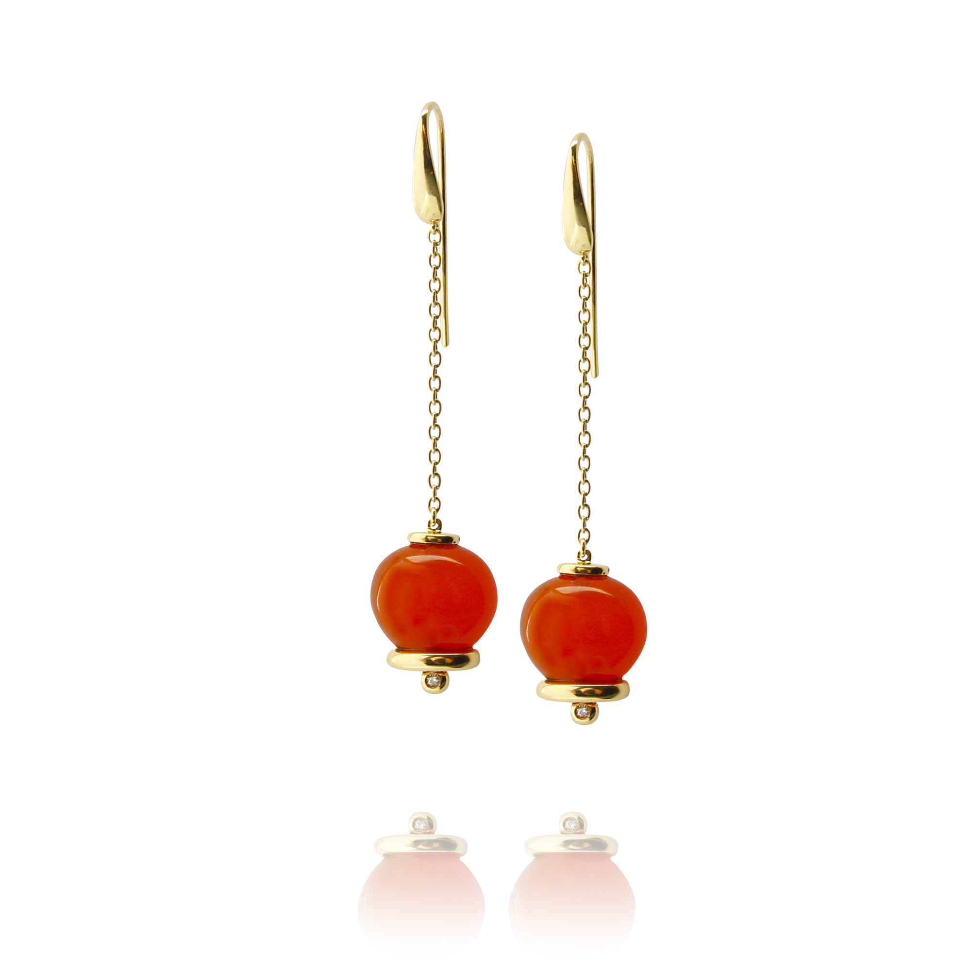 earrings campanelle in yellow gold 18 carat carnelian and diamonds