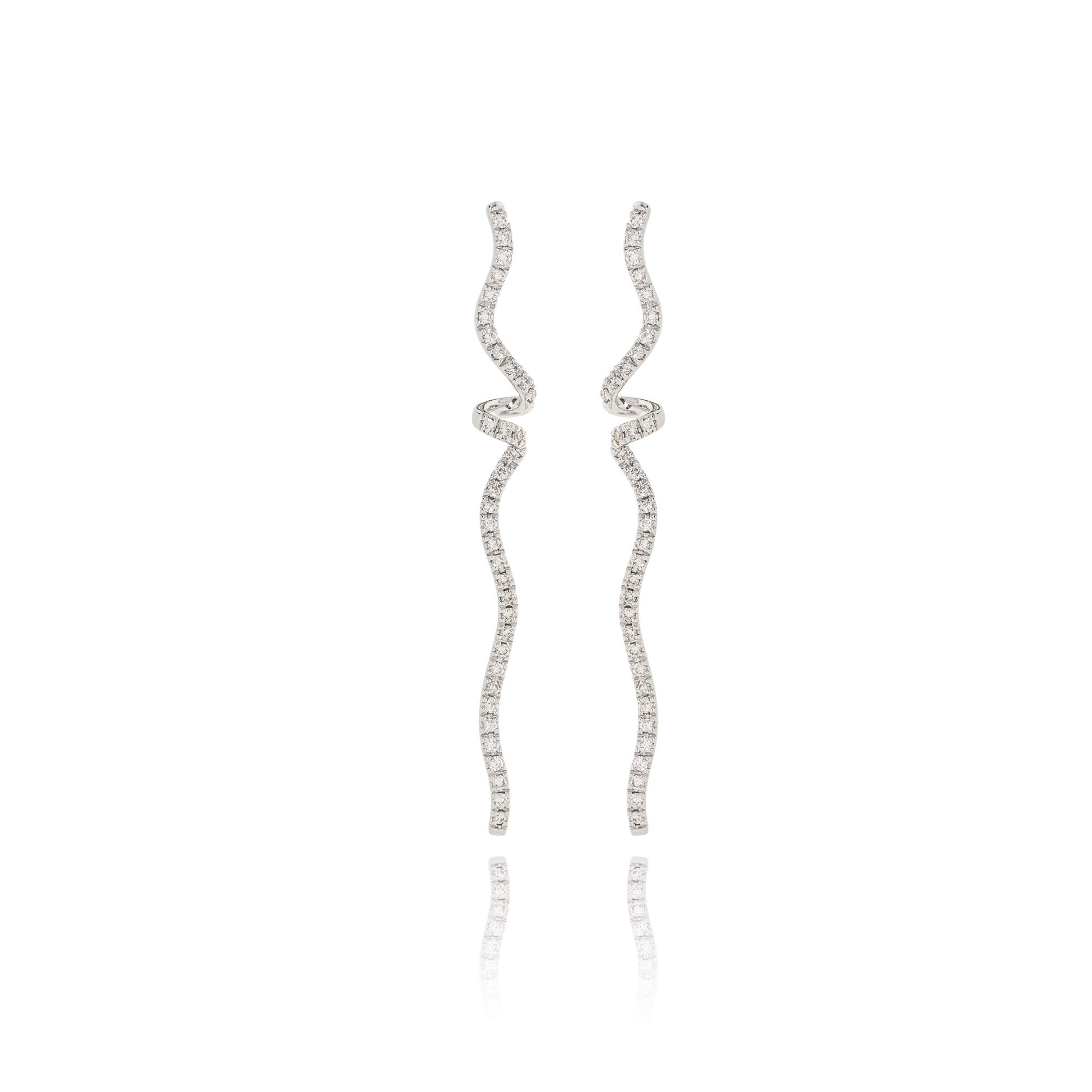 Earrings nastri white gold 18kt with diamonds