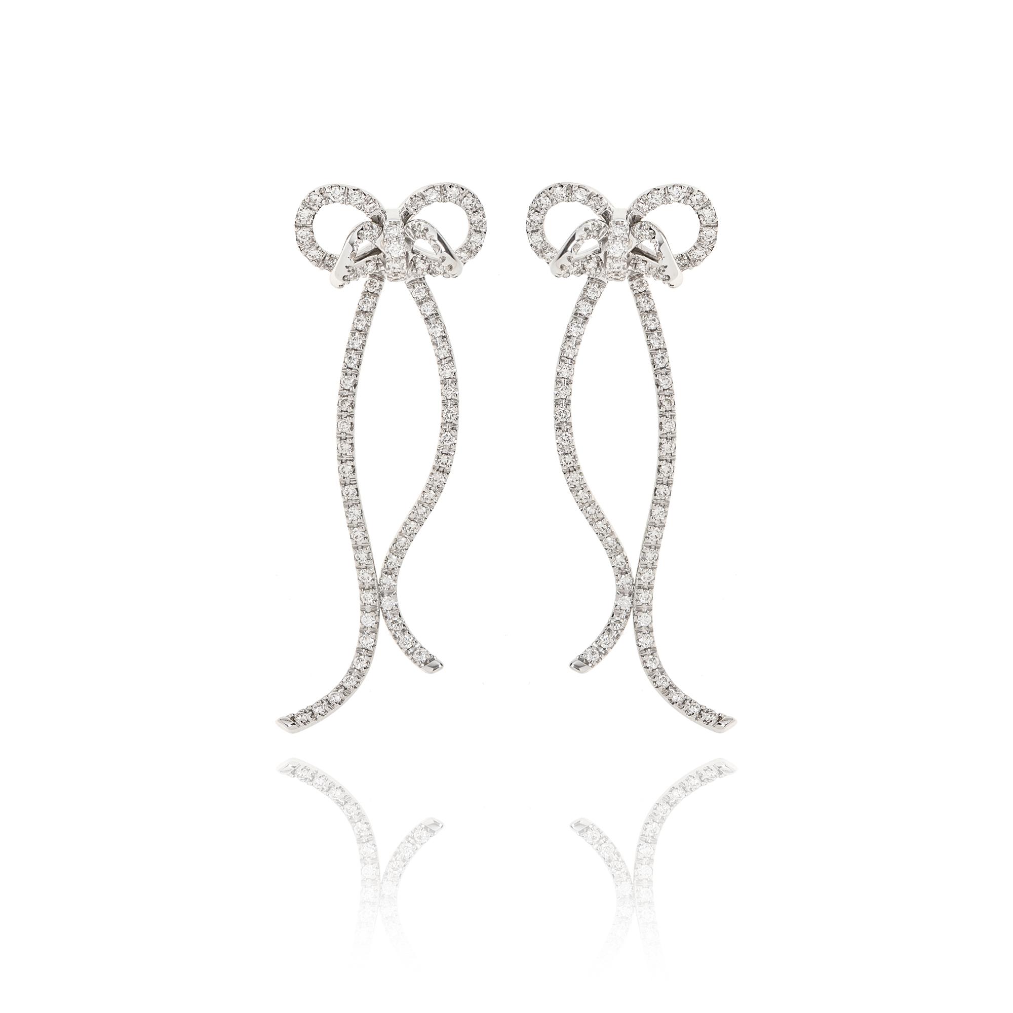 orecchini nastri fiocco in oro bianco 18kt con diamanti