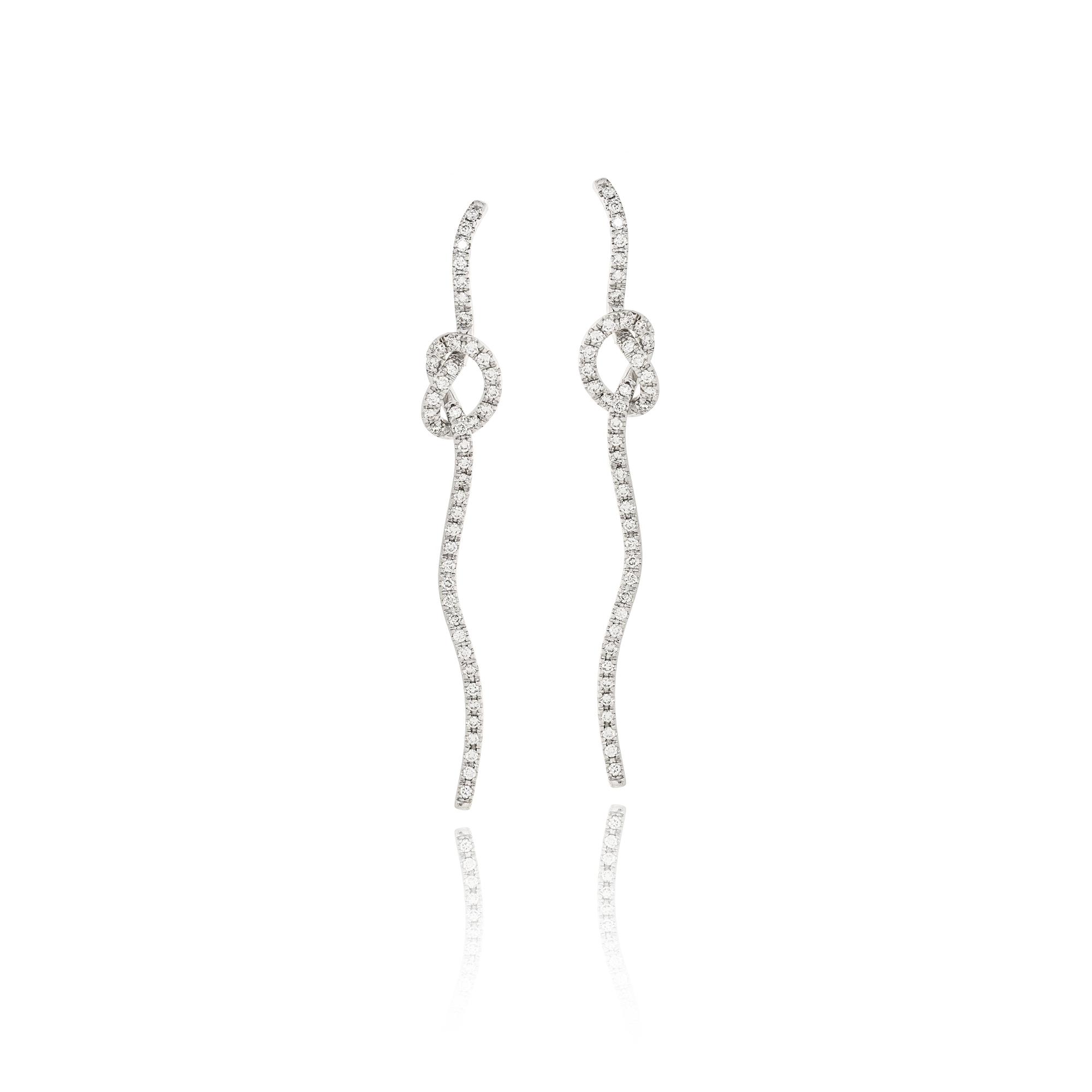 Earrings nastri nodo white gold 18kt with diamonds