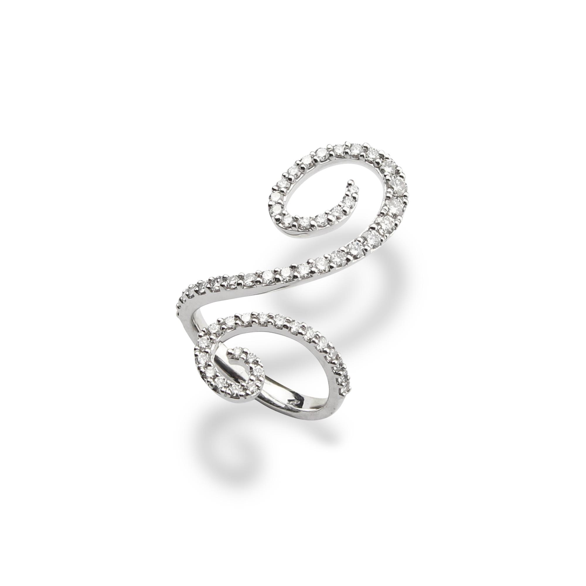 pierścionek oriente z białego złota 18 karatowe z diamentami