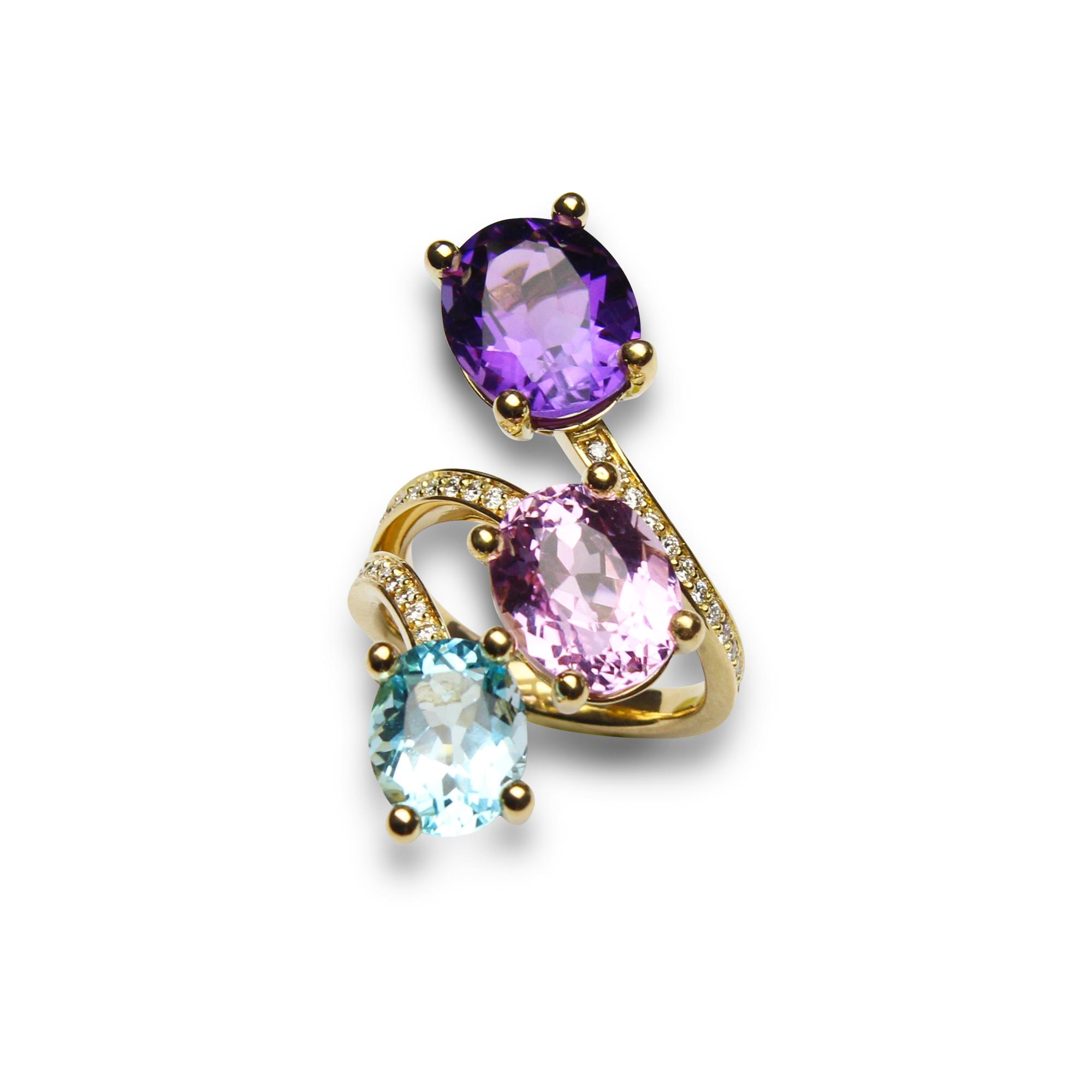 Paradiso anello 1218 in oro giallo 18 carati con ametista kuzite topazio azzurro e diamanti