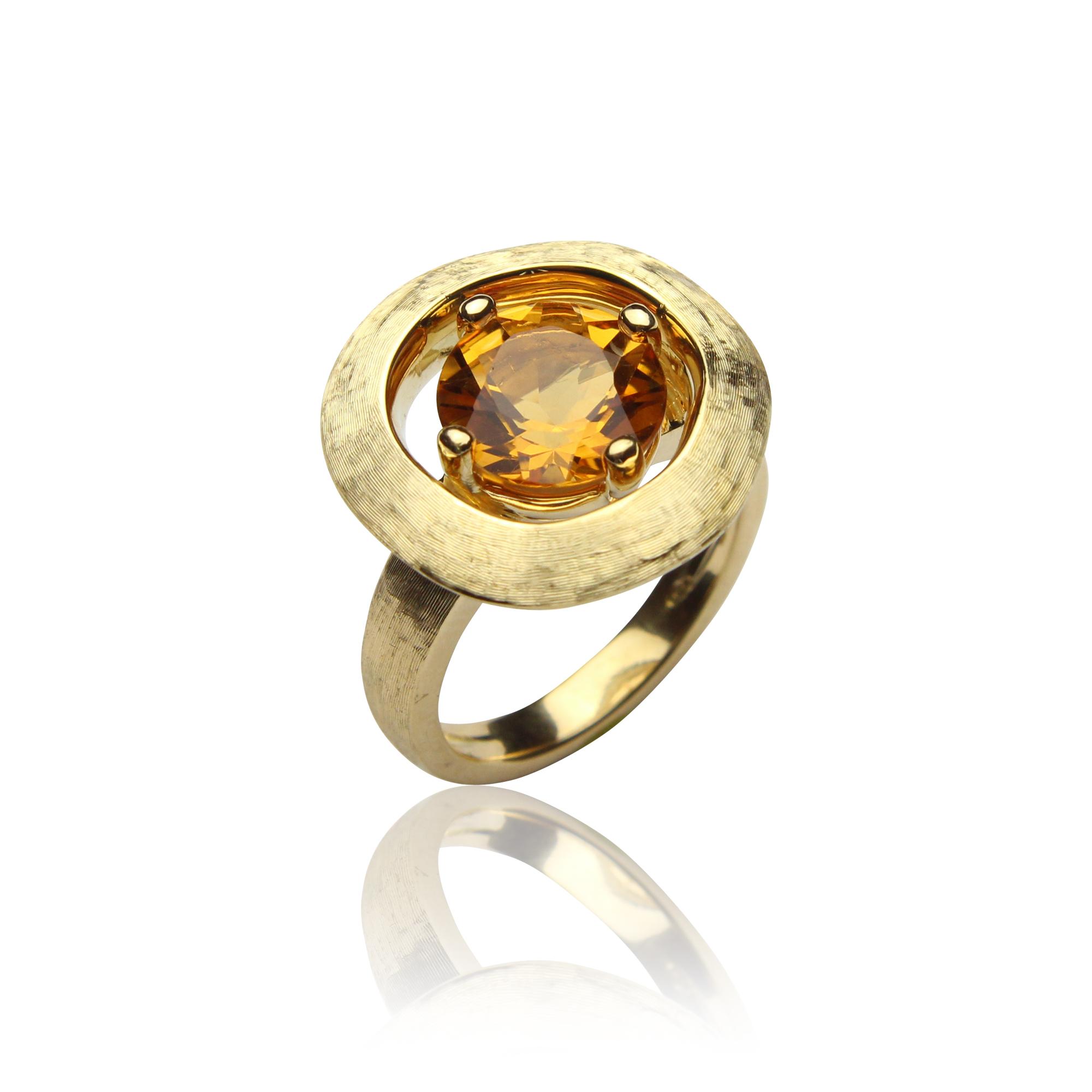 pierścionek sahara z żółtego złota 18 karatowego ,cytryn