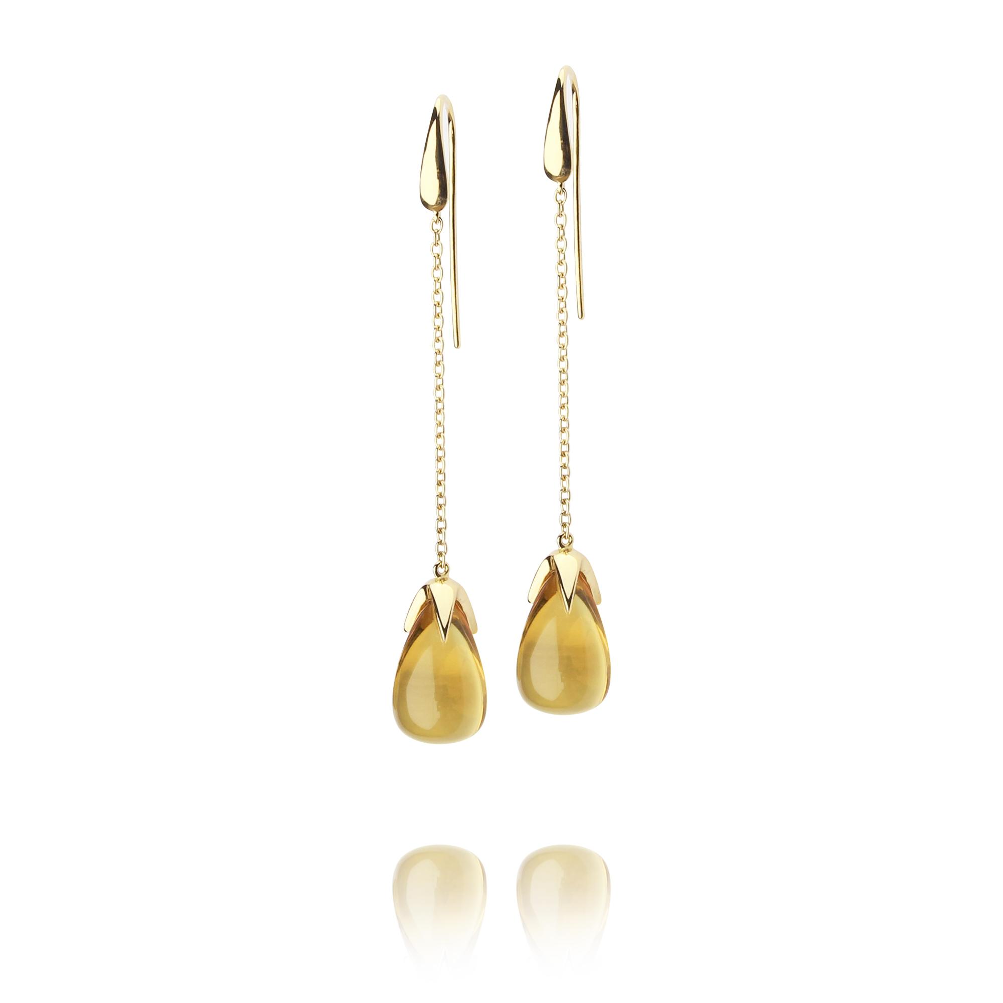 orecchini caramelle in oro giallo 18 carati citrino
