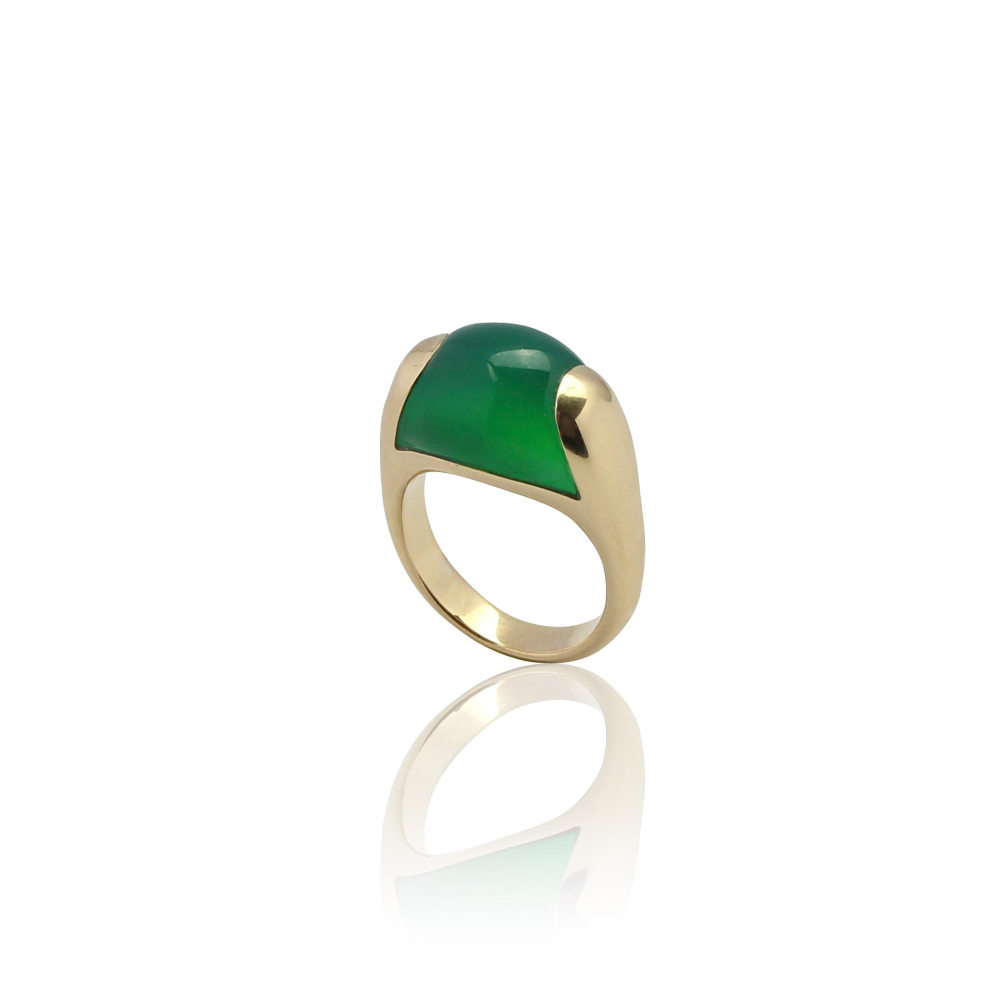 anello paradiso onyx verde 1207 in oro giallo 18 carati con onyce verde