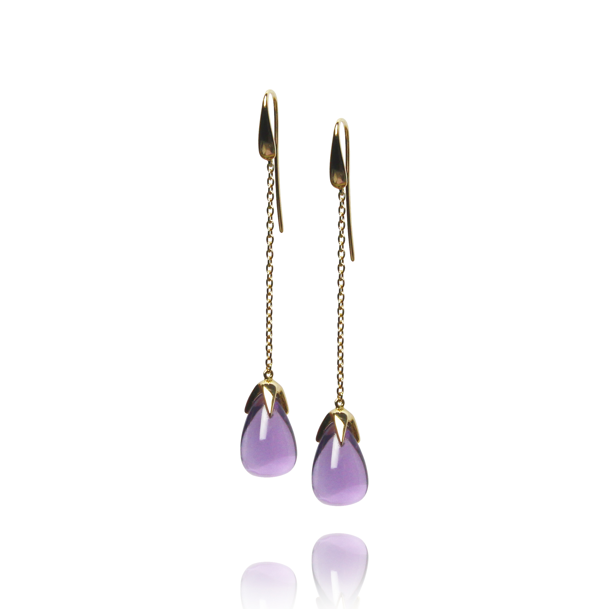 earrings caramelle yellow gold 18 carat amethyst