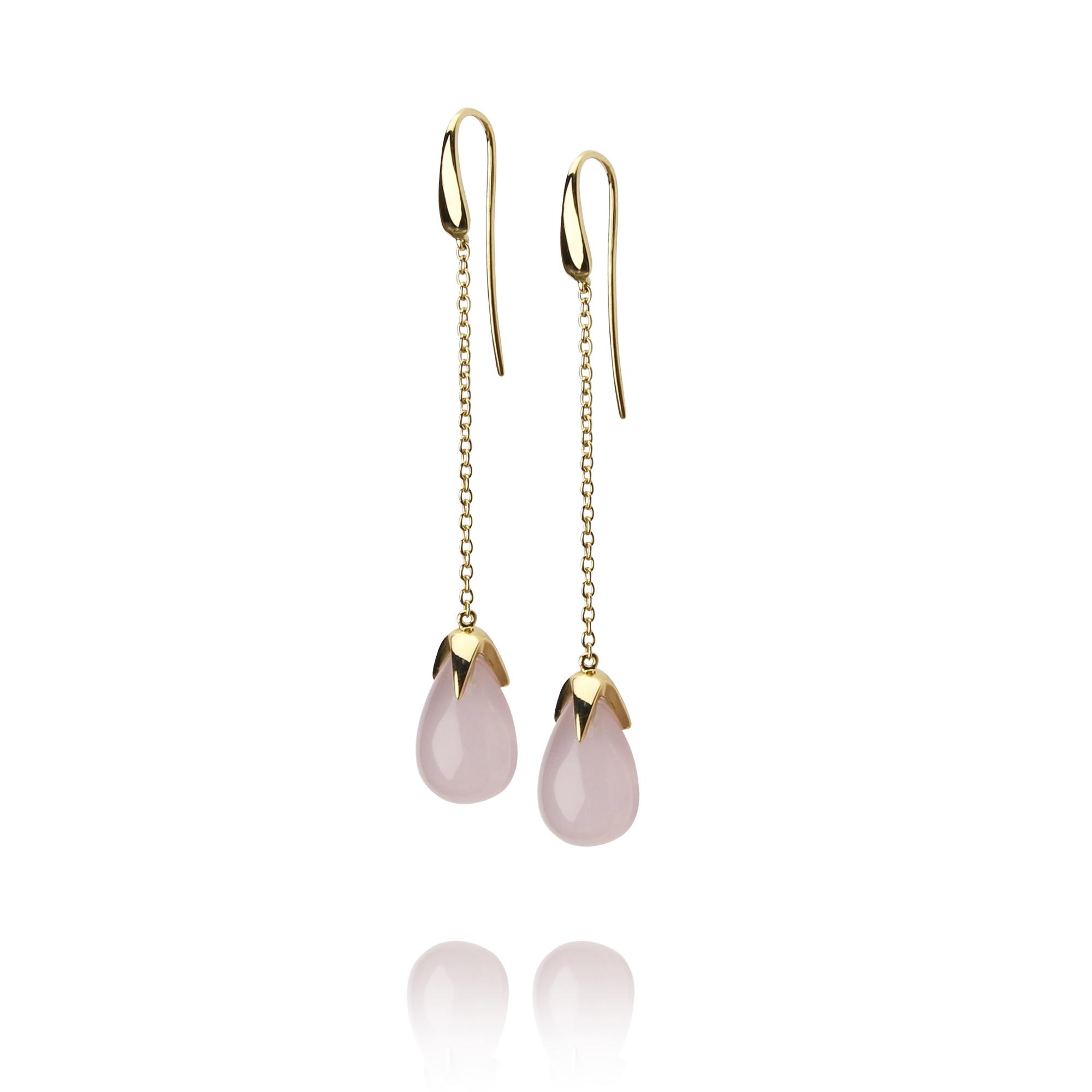 orecchini caramelle in oro giallo 18 carati quarzo rosa