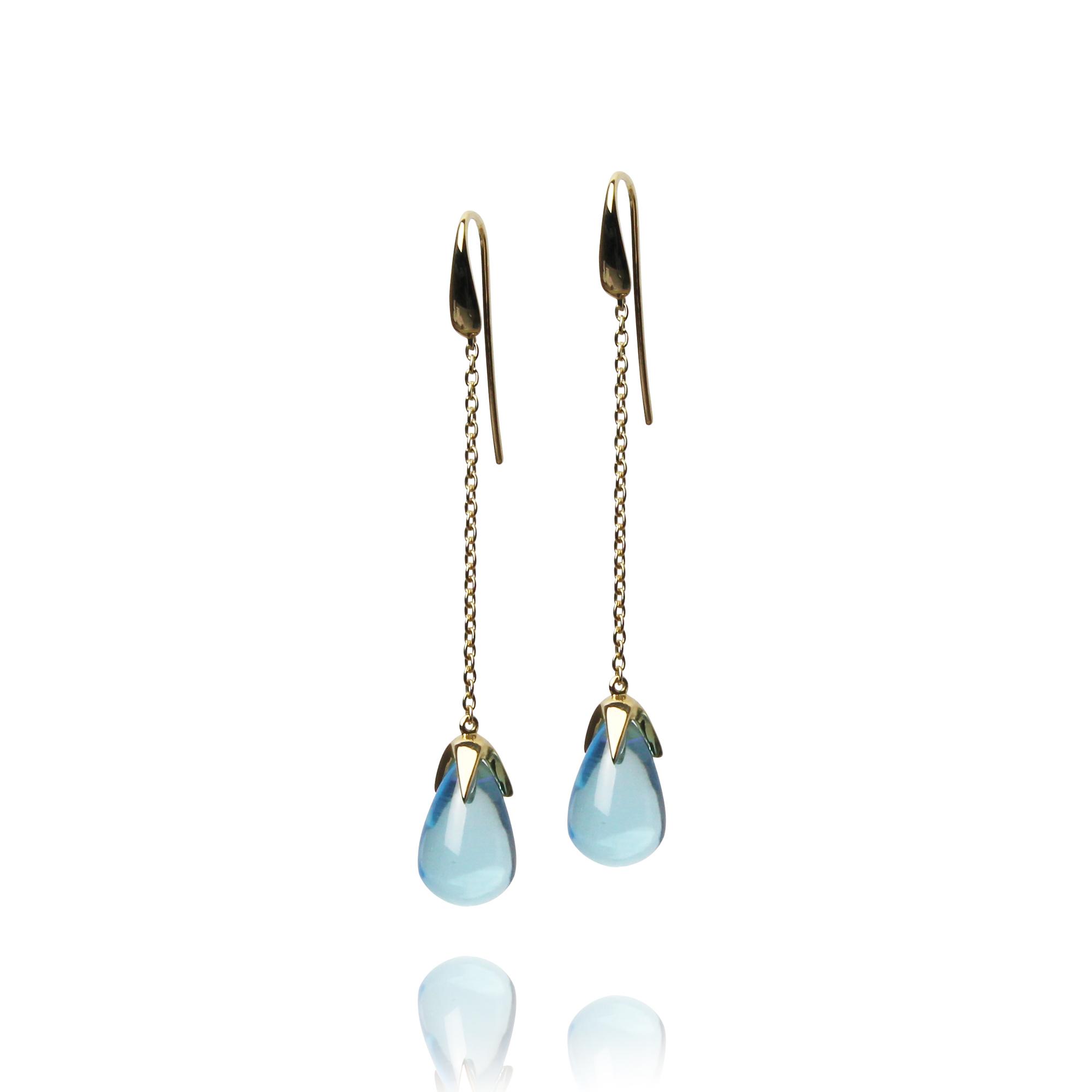 earrings caramelle yellow gold 18 carat blue topaz