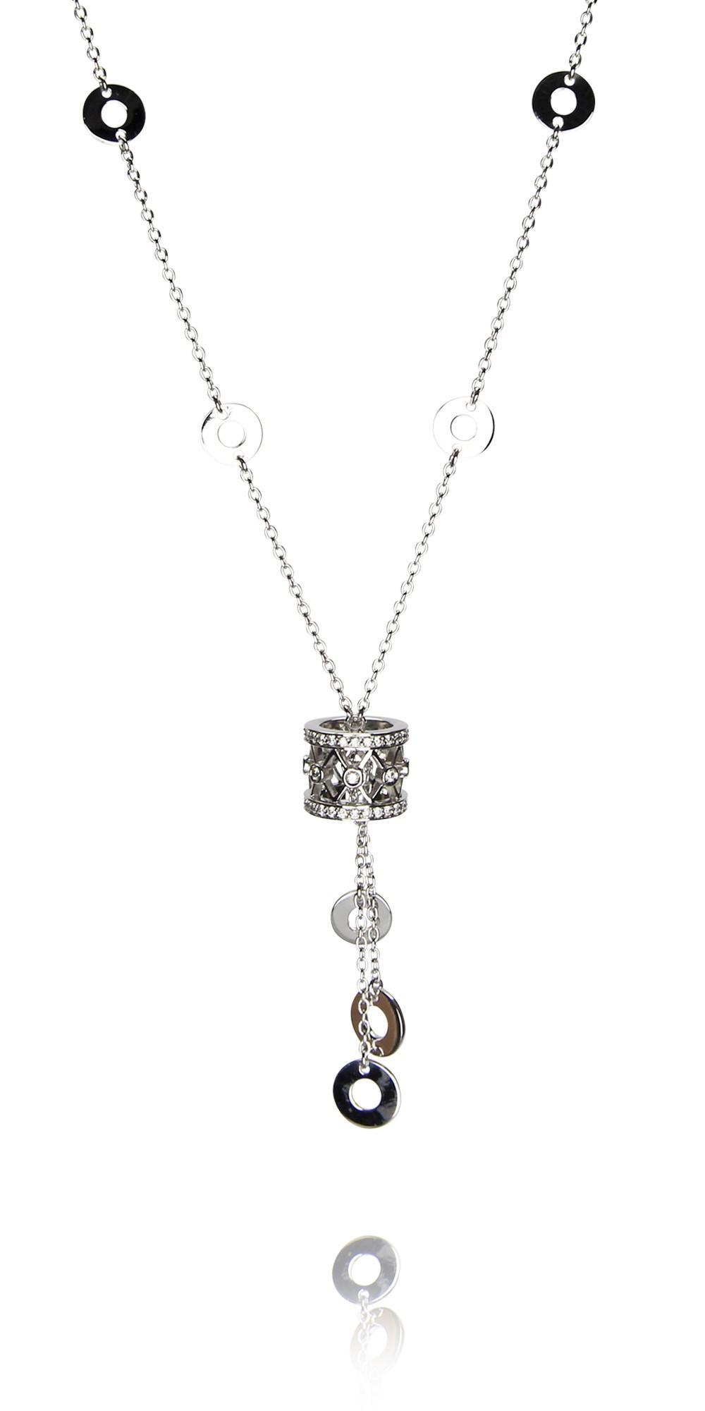collier tamburinio oro bianco 18 carati con diamanti