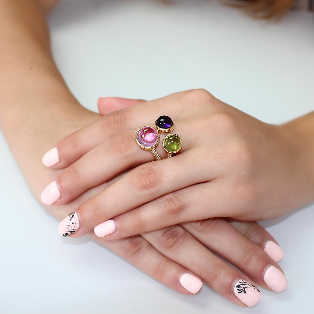 anello paradiso pietre semipreziose con diamanti