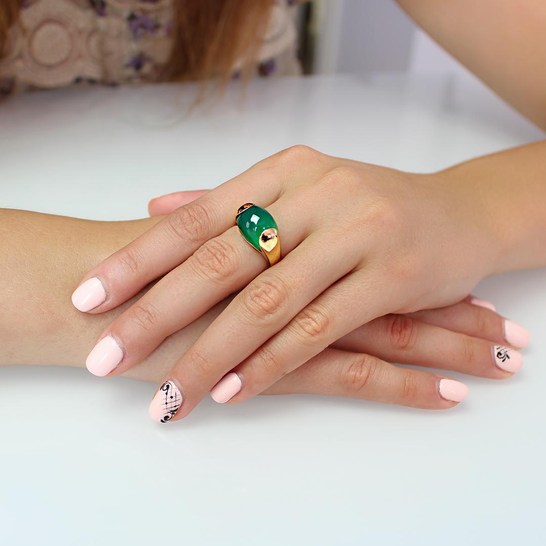 pierścionek Paradiso zielony onyks żółte złoto 18 karatowe